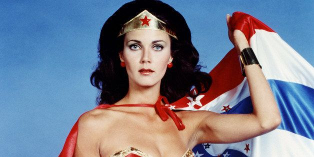 Lynda Carter, US actress, in costume in a studio portrait issued as publicity for the US television series, 'Wonder Woman', U