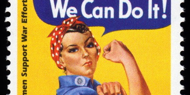 USA retro World War Two postage stamp showing an image of women support war effort