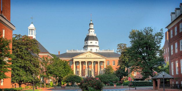 Maryland State House With Dome and Government Buildings in Downtown Historic Annapolis