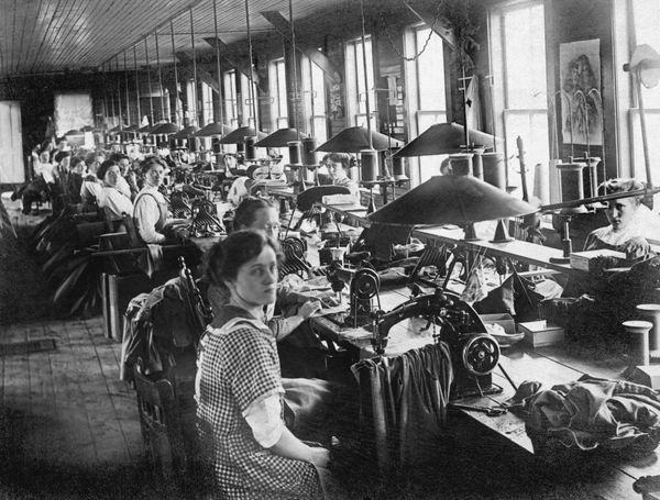 Women workers in a garment factory, Vermont, circa 1915.