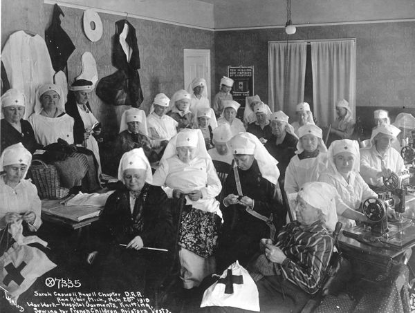 Women of the Sarah Caswell Angell chapter of the Daughters of the American Revolution, from Ann Arbor, Michigan, engage in wa