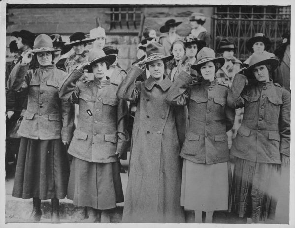 Working women aiding the war effort in World War One; Agnes Kelley, Blanche Chegnon, Marie Provencher, Nina Hosington and Mar