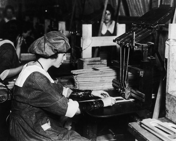 A woman working in an American aircraft factory, 1917.