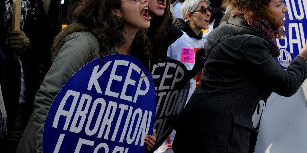 WASHINGTON, DC - JAN 22: There were heated exchanges between pro-choice (pictured) rally goers and anti-abortion protestors i
