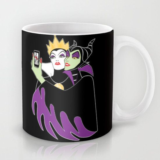 "<a href=""http://society6.com/product/grimhilde--maleficent-selfie_mug#27=199"" target=""_blank"">Society6, $15 </a>"