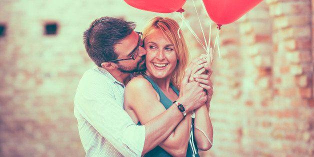 Romantic Couple with  heart shape Balloon. Vintage look