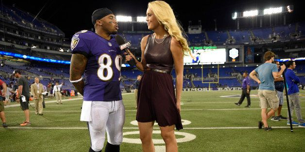 FILE - In this Sept. 11, 2014, file photo, Baltimore Ravens wide receiver Steve Smith (89) is interviewed after an NFL footba