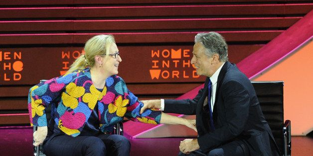 NEW YORK, NY - APRIL 22:  Actress Meryl Streep and host Jon Stewart appear onstage during the Women In World Summit at the Da