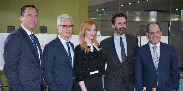 (L-R) AMC President Charlie Collier, actor John Slattery, who played the character 'Roger Sterling' in the AMC television ser
