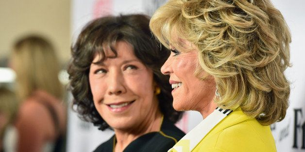 LOS ANGELES, CA - APRIL 29:  Actors Lily Tomlin and Jane Fonda attend the premiere of Netflix's 'Grace and Frankie'  at Regal