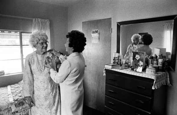 Lucy Buell's daughter helps her 76-year-old mother get ready for her wedding in 1974 in Claremont, California.