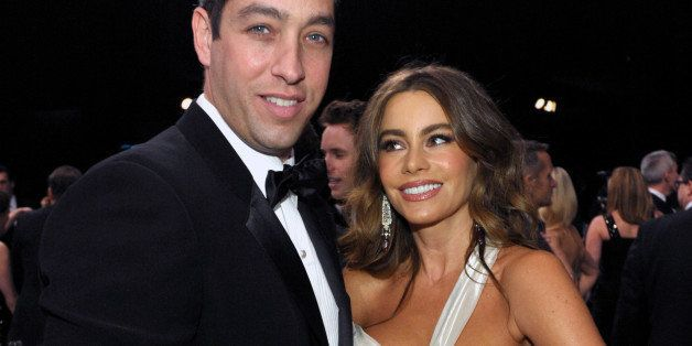 FILE - In this Jan. 27, 2013, file photo, Nick Loeb, left, and Sofia Vergara pose in the audience at the 19th Annual Screen A