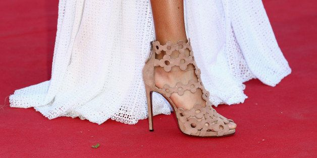 CANNES, FRANCE - MAY 20:  Joan Smalls, shoe detail, attends the 'Youth'  Premiere during the 68th annual Cannes Film Festival