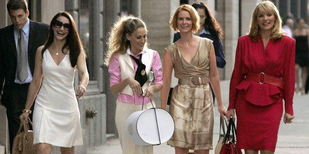NEW YORK - SEPTEMBER 21:  Actresses Kristin Davis as 'Charlotte,' Sarah Jessica Parker as 'Carrie Bradshaw,' Cynthia Nixon as