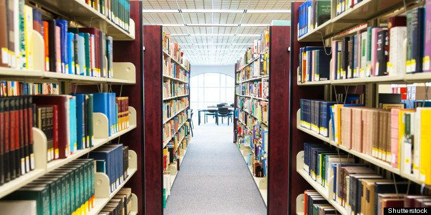 library setting with books and reading material (Please note that many books with legible titles are filler titles that only
