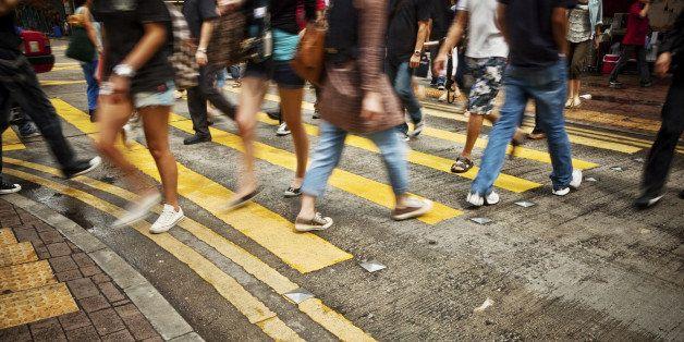 'People Rush in Hong Kong, China'