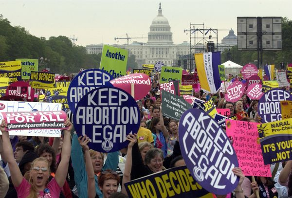 """NOW members campaigned for abortion access. After the Roe v. Wade ruling in 1972, members <a href=""""http://nownyc.org/actions/"""