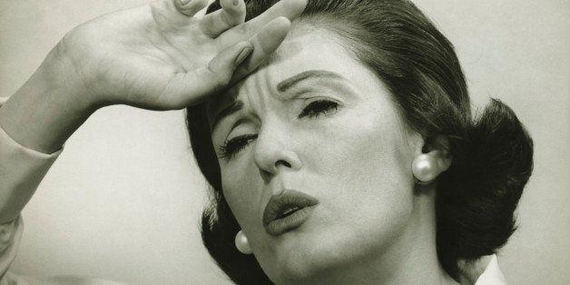 Woman with headache, (B&W), (Portrait)