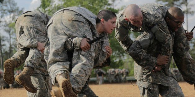 FORT BENNING, GA - APRIL 20:  U.S. Army Capt. Kristen Griest (R) participates in training at the U.S. Army Ranger School Apri
