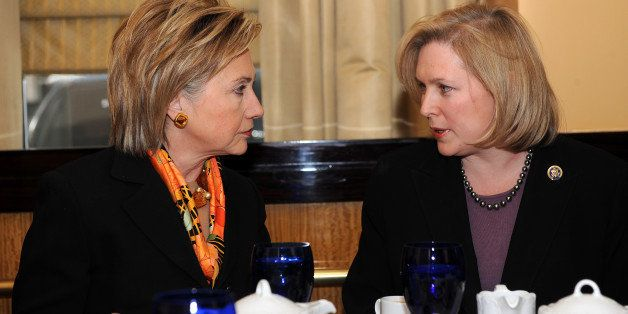 UNITED STATES - JANUARY 25:  Secretary of State Hillary Clinton has lunch wtih her replacement, the new Senator Kirsten Gilli