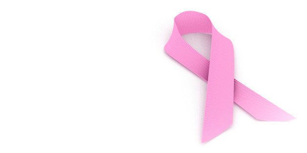 Breast Cancer Awareness Ribbon against white background