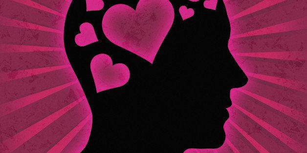 Love - Man head silhouette with hearts instead of brain