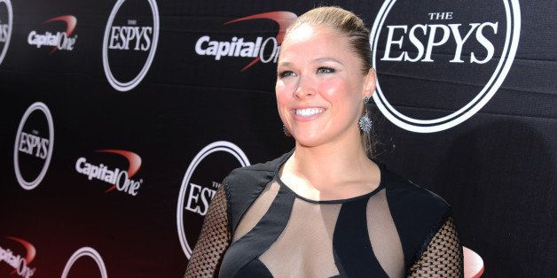 American mixed martial artist Ronda Rousey arrives at the ESPY Awards at the Microsoft Theater on Wednesday, July 15, 2015, i