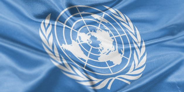 High resolution digital render of United Nations flag.