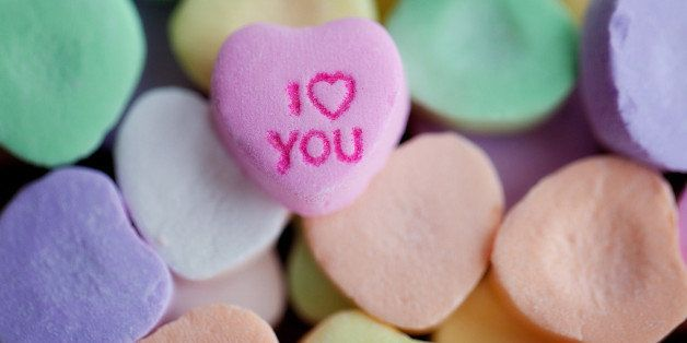 Candy hearts with 'i love you' message.