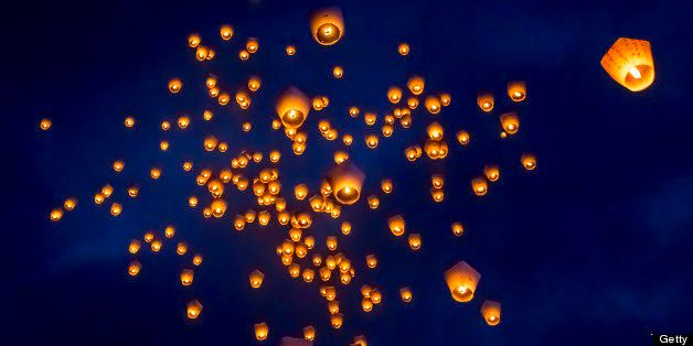 As the main event of 2013 Pingxi Sky Lantern Festival, first 200 Lanterns are released at Shifen Sky Lantern Square on the Fi