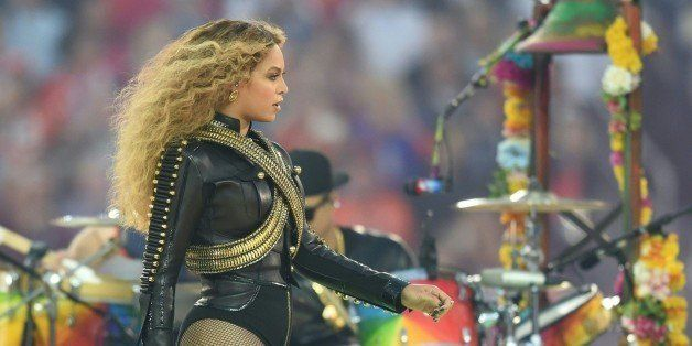 Beyonce performs during Super Bowl 50 between the Carolina Panthers and the Denver Broncos at Levi's Stadium in Santa Clara,