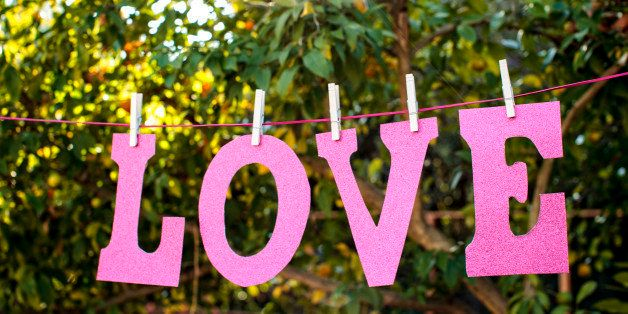 Love letters hanging on clothesline.