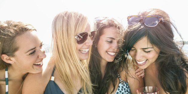 USA, Washington, Bellingham, Portrait of young women having fun