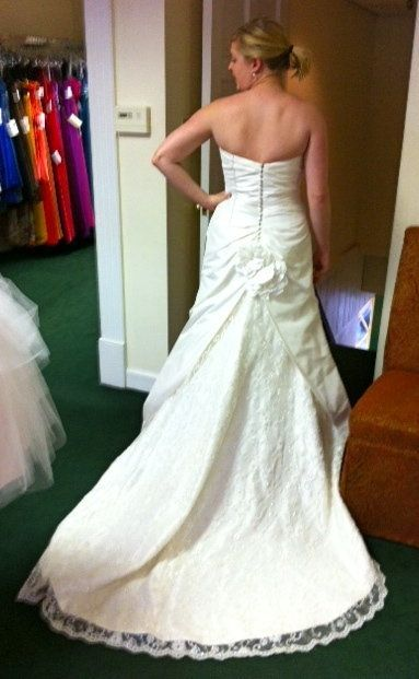 Kjerstin Gruys in her wedding dress at a St. Louis bridal salon the day before the project began