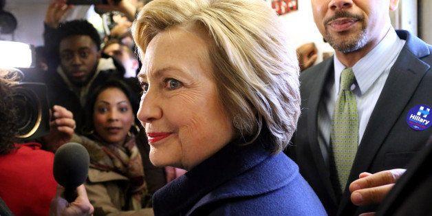 BRONX, NY - APRIL 07: U.S. Presidential candidate Hillary Clinton (D-NY) and Bronx borough President Ruben Diaz Jr. ride the