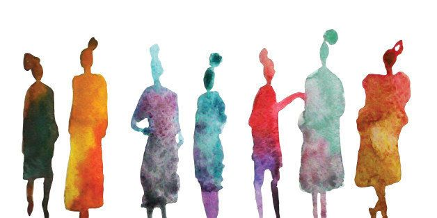 Colorful silhouettes of people. Watercolor background with silhouette of women. Stylish silhouette.