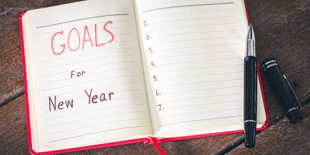 New Year's goals with with notebook and pen. New Year's goals are resolutions or promises that people make for the New Year t