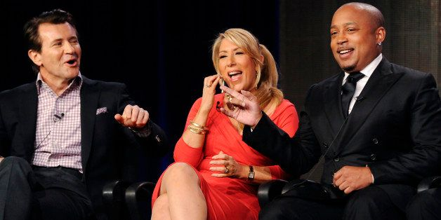 Reality television personalities and business people (L-R): Robert Herjavec, Lori Greiner and Daymond John take part in a pan