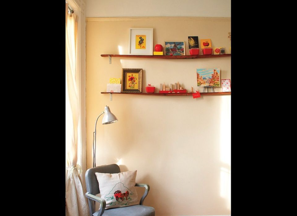 Create bookshelves out of unexpected materials; these narrow ledges are vintage wooden skis.  <em>P.J. Mehaffey & Dylan Hig