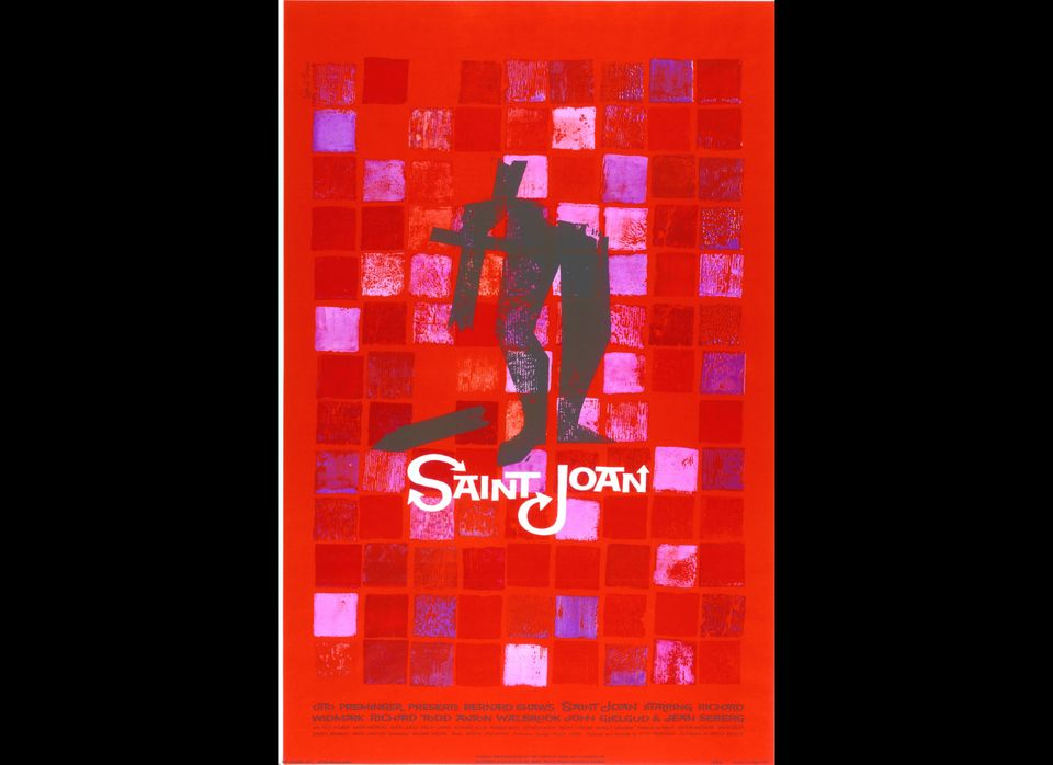 This poster for the film <em>Saint Joan</em>, directed by Otto Preminger, shows a fragmented figure of Joan against a mosaic