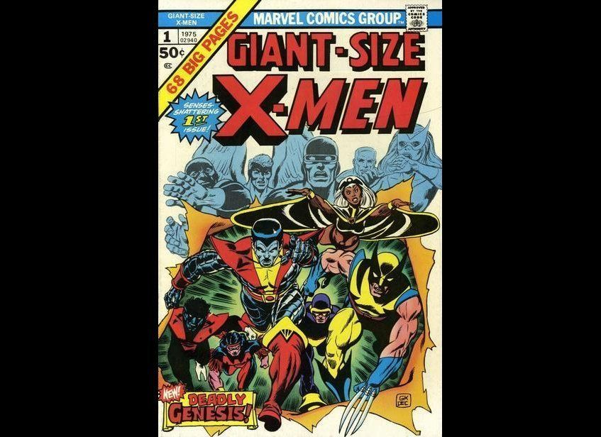 """Gil Kane's powerful cover is an expert manifestation of """"out with the old, in with the new"""" as the new members of the X-Men a"""