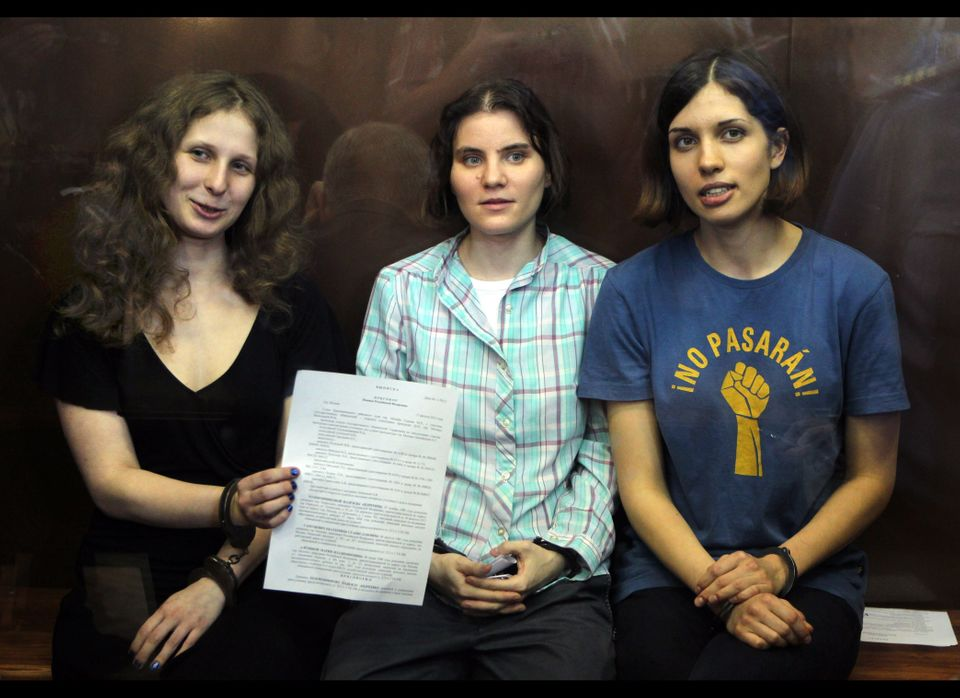 In this Friday, Aug. 17, 2012, file photo, feminist punk group Pussy Riot members, from left, Maria Alekhina, Yekaterina Samu