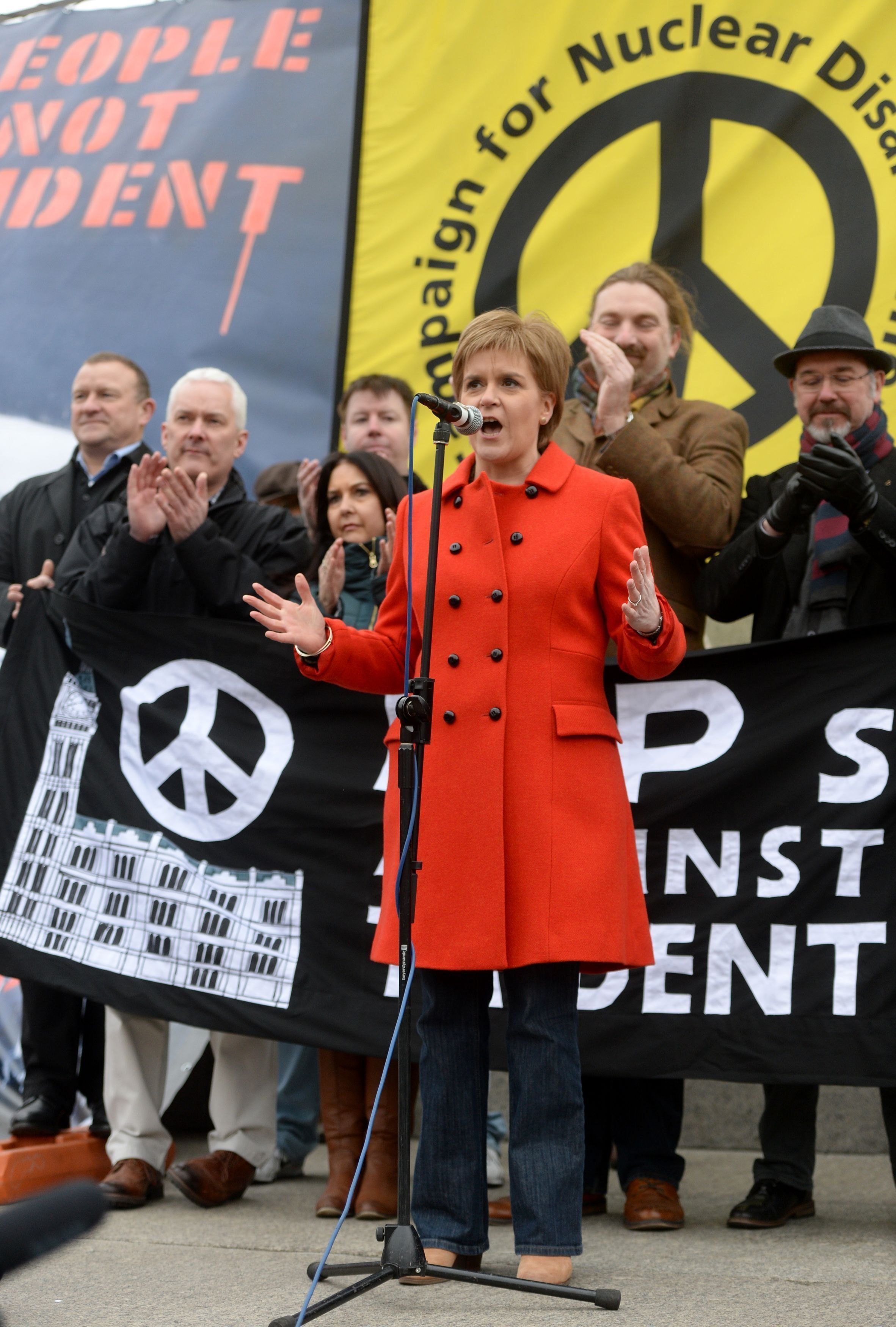 Scottish First Minister Nicola Sturgeon address protesters at a Stop Trident protest rally in Trafalgar...