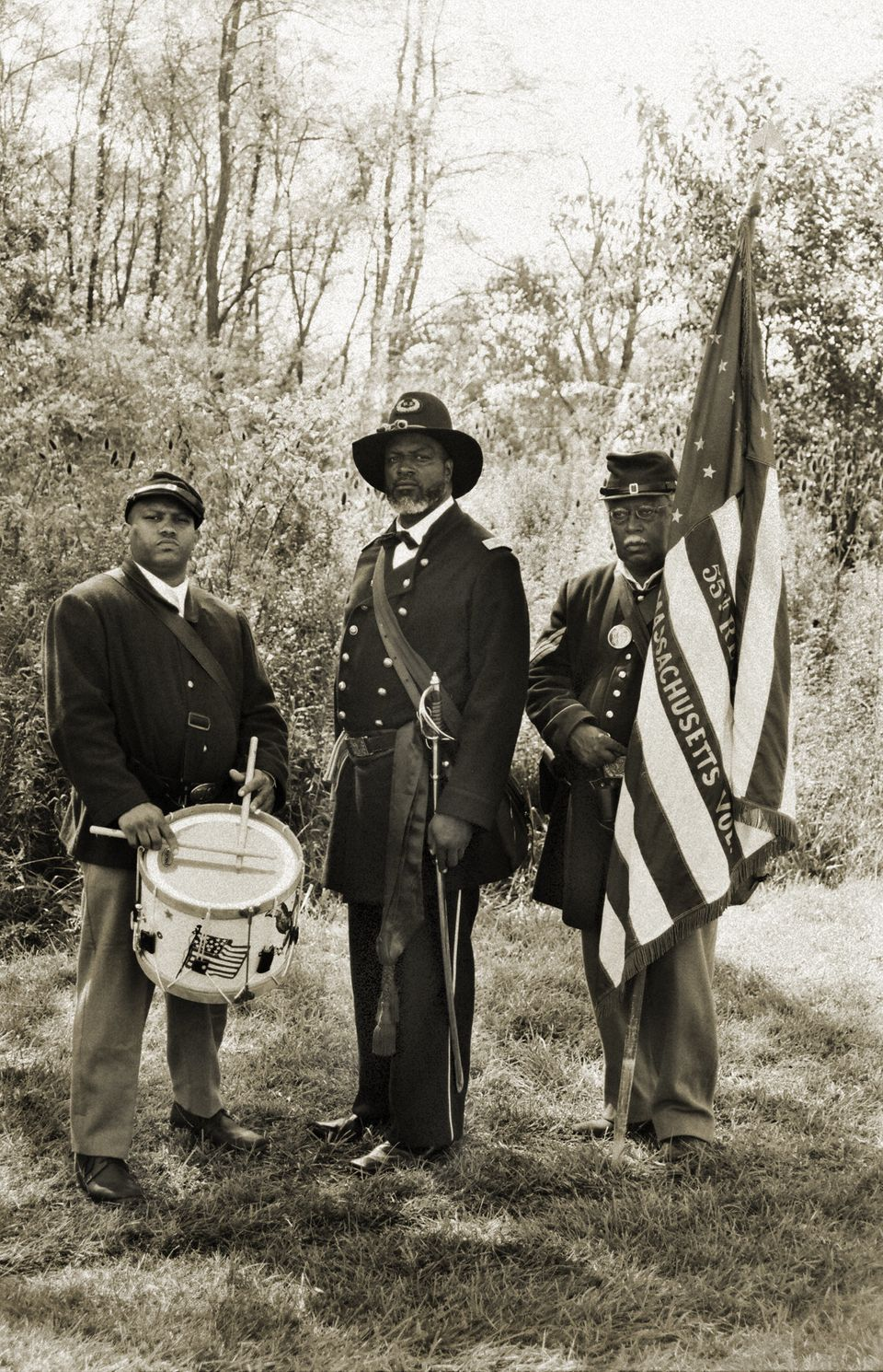 Andrew Bowman, right, portrays Andrew Jackson Smith in Hartford City, Indiana. Smith, a color sergeant and Medal of Honor win