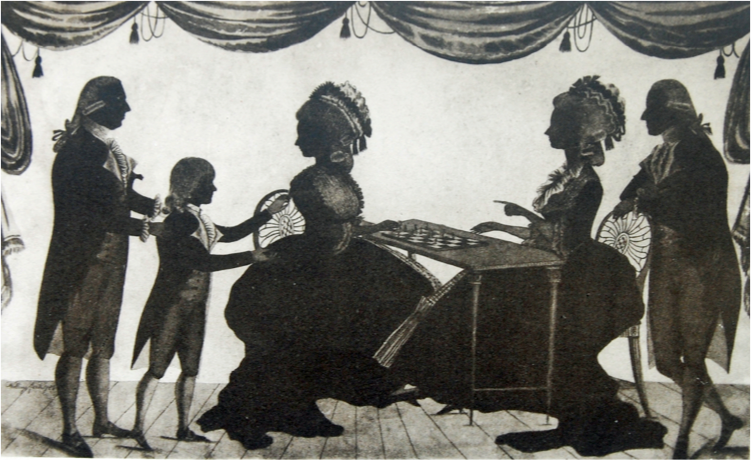 All the faces are turned towards the young boy. He is being passed to one of the two fashionably dressed women with powdered