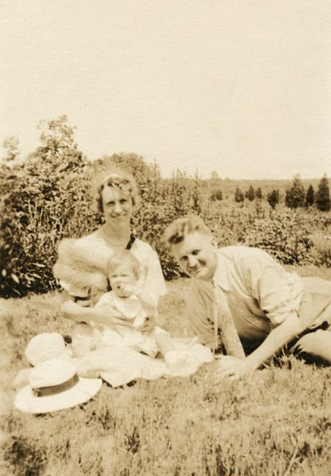 Otto, Aurelia, and Sylvia Plath, July 1933.   Sylvia was about nine months old in a photograph that presents an image of her
