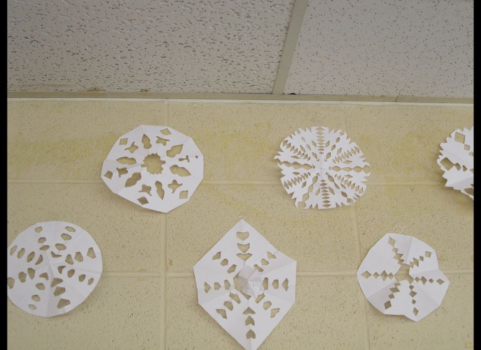 Handmade snow flakes sent to the school from folks around the country decorate the school.