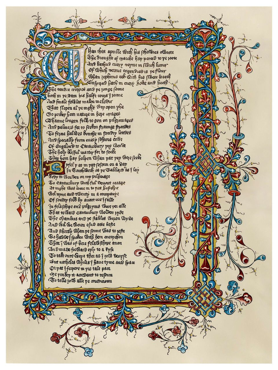 <em>The Canterbury Tales</em> by Geoffrey Chaucer (late 14th Century)   Pilgrims travelling to the shrine of Sir Thomas Becke