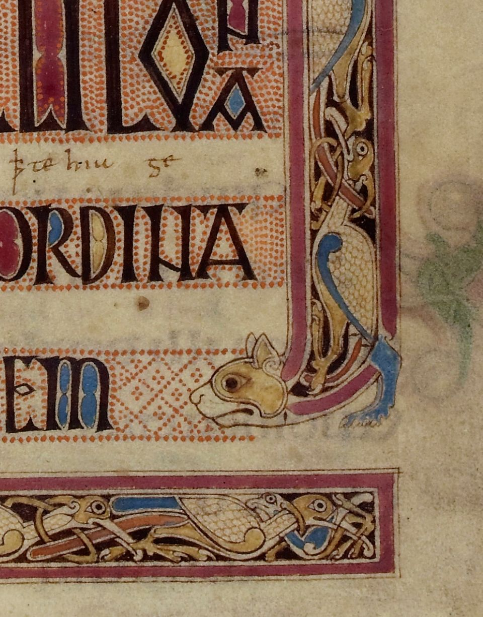 Close up of the corner of the Lindisfarne Gospels page, circa 720AD