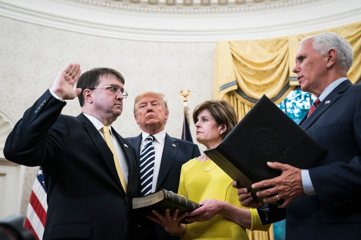 Secretary of the Department of Veterans Affairs Robert Wilkie, who is seen being sworn into office in July, expressed satisfa